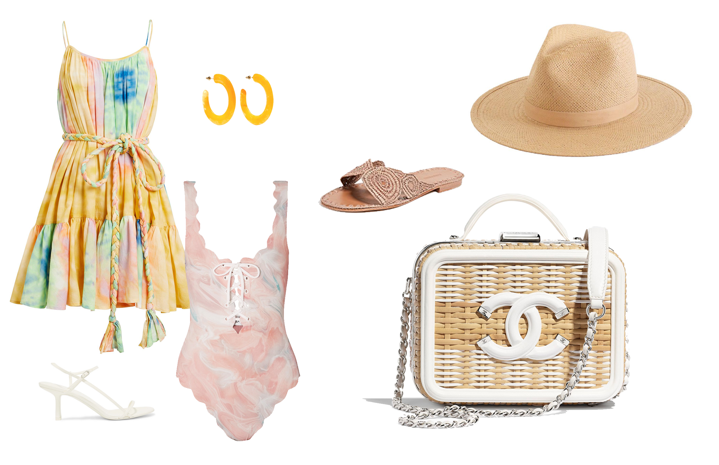 MINI DRESS  |  HAT  |  SLIDES  |  RATTAN CHANEL BAG  |  SWIMSUIT  |  EARRINGS  |  HEELS