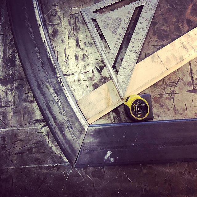 Arched steel stall door on the table #handcrafted #barndepot #barndoor #welding #lancasterma