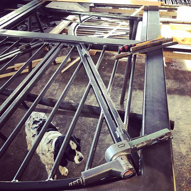 Crafting arched metal steel doors in the work shop #officemascot #welding #weld #handcrafted #workshop