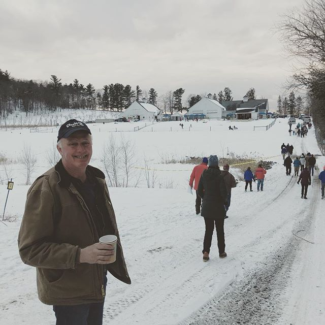 The owner at a late winter festival at a barn complex we built in Harvard Ma. #circlebbarns #barndepot #harvardma #builtinnewengland #farm #barndepot #circlebbarns