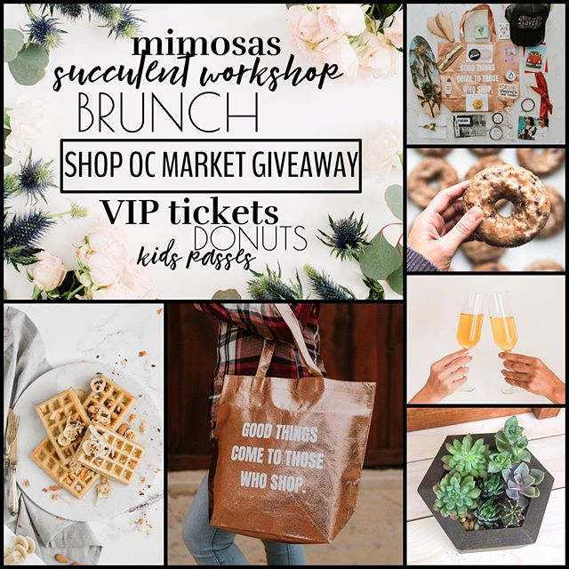 """Here it is!🙌🏼 The ULTIMATE Shop OC Market GIVEAWAY!!!💃🏼🎉 🍩🍾 Were giving away: •Brunch for two at The Silver Trumpet Bar and Grill[located in the same building as the market] •TWO VIP Swag Bag Tickets[includes entry fee, early entrance at 8:30am, mimosa bar ticket, swag from participating vendors, discounts from select shops, snacks and water to keep you hydrated while shopping, and a fun tote bag!], •TWO tickets to the @beauty.nostalgia SUCCULENT WORKSHOP! Enjoy creating your own succulent planter box to take home at the succulent bar workshop! #l •And two kids passes![includes one pet from our """"pet shop"""", juice box, and other fun goodies!] This is the ultimate shopping experience and curates such a FUN SUNDAY!!! So...how do you enter to win!? 1. Like this photo 2. Follow us @shopocmarket & @silver.trumpet & @beauty.nostalgia [We will check!😜] 2. Tag one local friend below this post[the more you tag the more entries you receive!Tag 5, get 5 entries, tag 50 and get 50! You get the idea] THAT'S IT! #Giveaway ends FRIDAY at midnight PST. Soooo you gotta enter quick! Must be 21 or older to enter. Good luck and have fun!"""