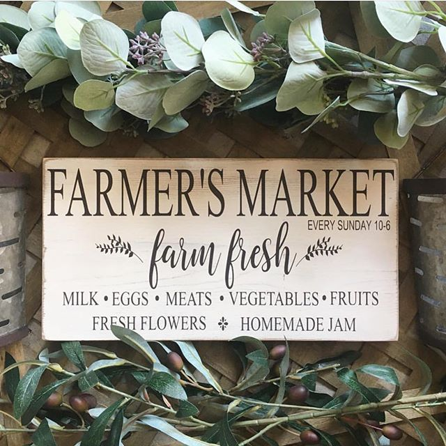 Anyone else need this adorable farmers market sign in their life like we do?😍😍😍 We are so excited to have this talented and amazing shop @sawyerleighboutique join the spring Shop OC Market this Sunday! She makes the best wood signs and some of your favorite home decor! You guys...were so close to Sunday and we can't WAIT to get our shop on!!💃🏼💃🏼💃🏼