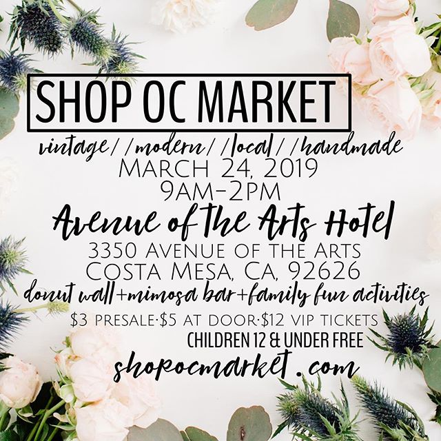 TOMORROW IS THE DAY!!! Let's shop til we drop!  GENERAL ADMISSION TICKETS will be on sale tomorrow at the door for $5🙌🏼 children 12 & under are FREE! Come join us and let's make it an awesome Sunday friends!  3350 Avenue of the Arts, Costa Mesa, CA, 92626  9am-2pm[8:30am for VIP tickets!]