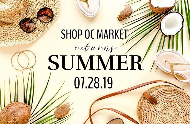 Introducing Shop OC's first ever SUMMER MARKET!☀️⛱🌊 We are so excited to add this event to your summer line-up🙌🏼 July 28th: JOIN US as we put on a market you won't want to miss! This market will be geared towards all things FUN IN THE SUN, with new and exciting activities, plus some of the best local shopping around. 👉🏼New and returning vendors: Applications will open THIS FRIDAY, April 26th at 8am PST for BOTH categories. Please be sure to fill out a returning app if you are returning and NEW app if your a new face to Shop OC! Please be sure to read the entire application listing as booth spaces, and info have changed for our summer market.  If you have any questions please email us at shopocmarket@gmail.com.  We are SO excited for this new adventure at Shop OC and we can't wait to see and meet all you vendors and shoppers THIS SUMMER! Stay tuned for more info and details soon!🙌🏼