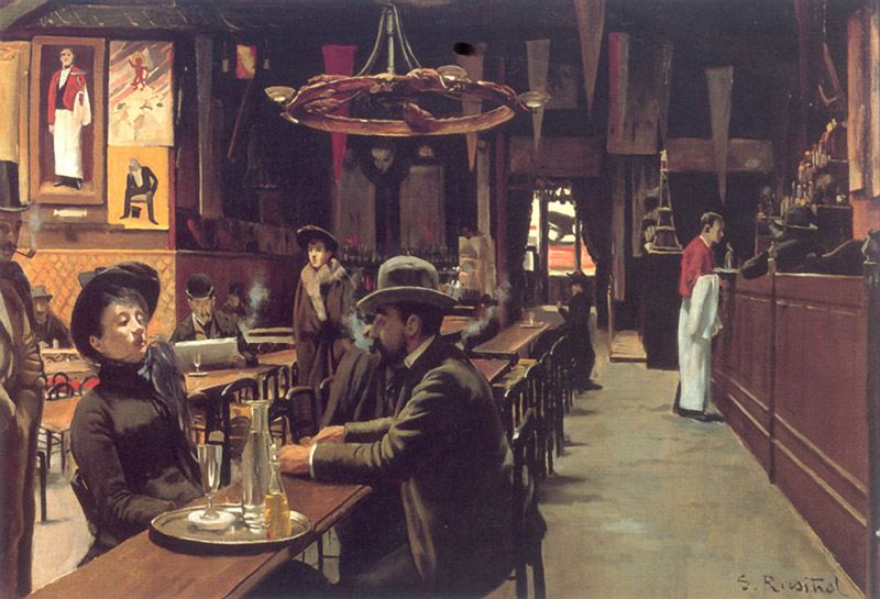Santiago Rusiñol Prats,  El Cafe de Montmartre (Cafe de los Incoherents),  1890. Collection of Museo de Montserrat, Spain.