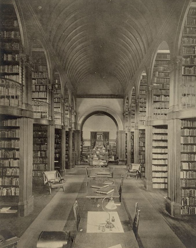 Gambrill & Richardson, Architect.  Book room, Woburn Public Library, Woburn, Mass . Woburn, Massachusetts, ca. 1880. Photograph. Library of Congress