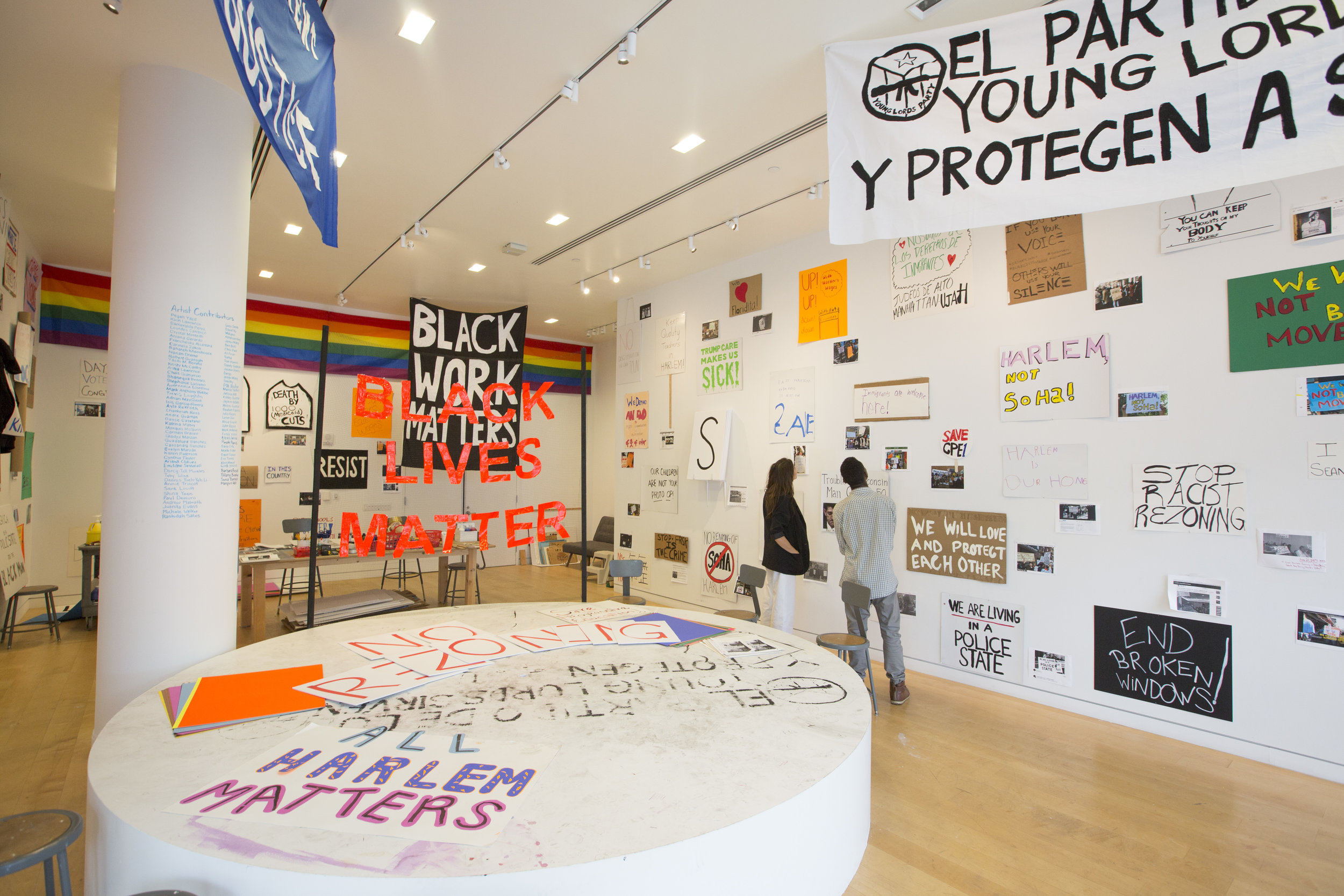 Installation view of the exhibition,  Jason Lazarus: A CENTURY OF DISSENT! , Hunter East Harlem Gallery, summer 2017.