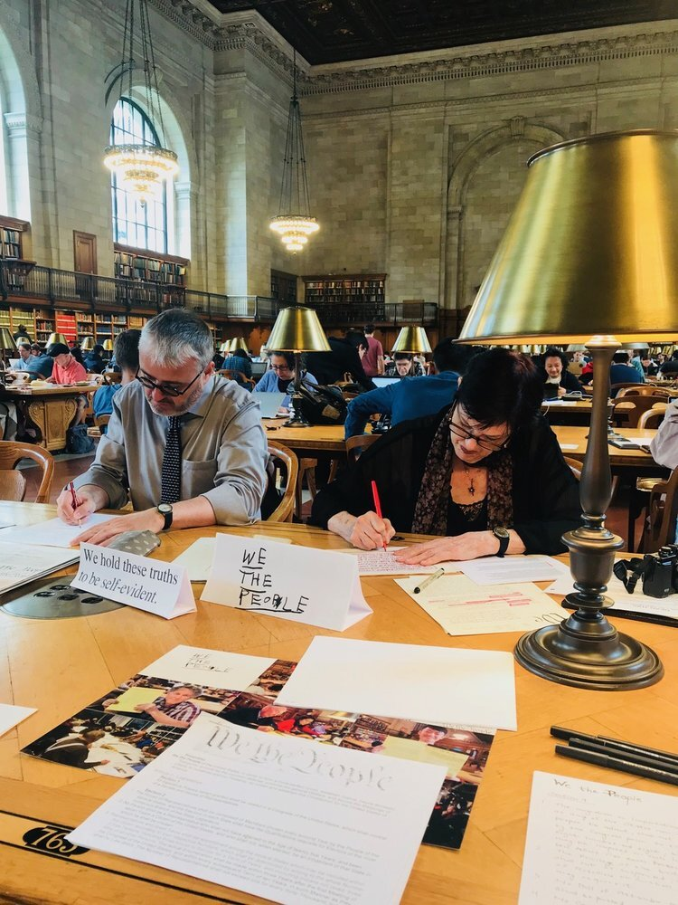 Documentation of  Handwriting the Constitution of the United States , July 21, 2018, NYC Public Library Rose Reading Room