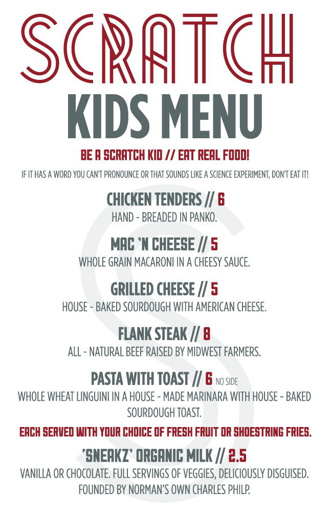 We believe kids should be subject to the same quality food we give you, so feel free to bring your children to enjoy our full kids menu.