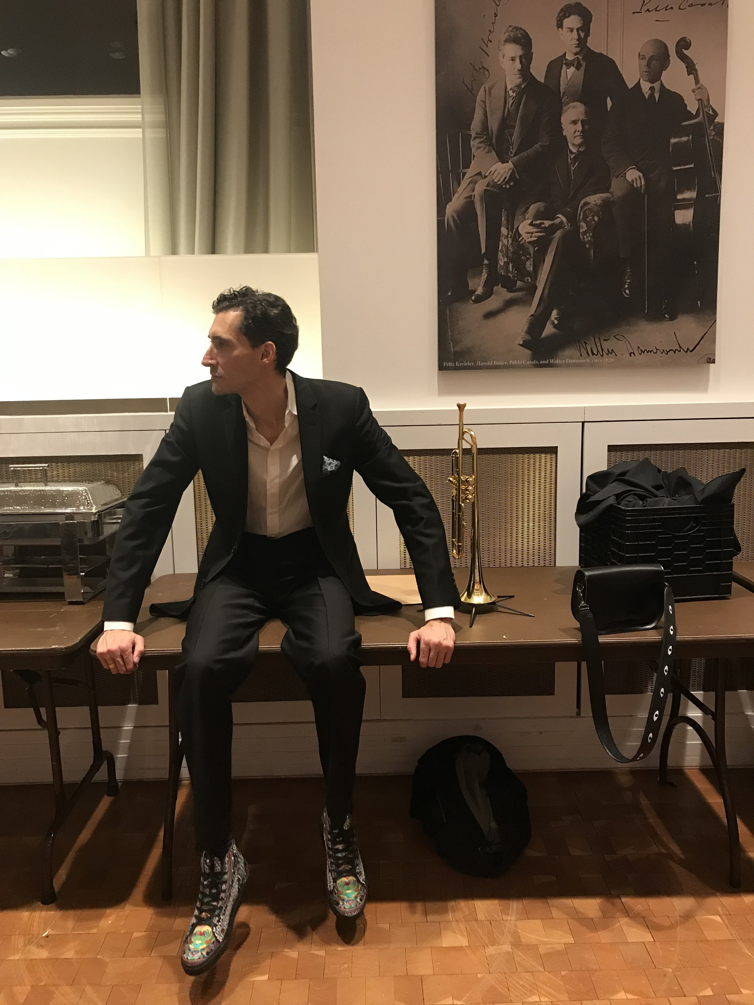 Jordan in a quiet backstage moment (and the Silver Cat high tops!) before playing the Van Morrison tribute at Carnegie hall. March 2019.