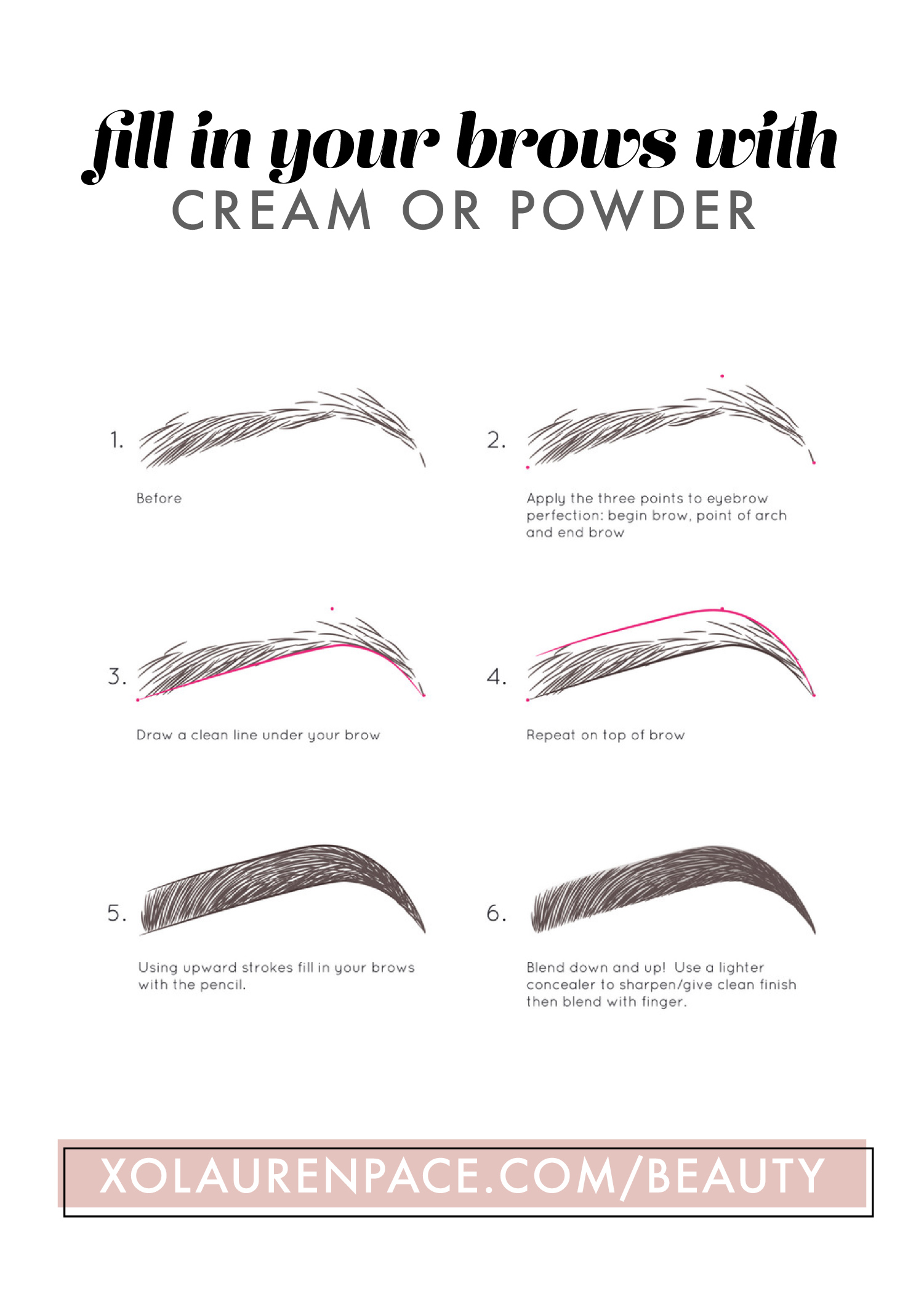 Map out your eyebrows, then draw a line under and a line over. Fill in the brow with upward strokes. Blend with a spoolie and you've filled in your brows successfully.
