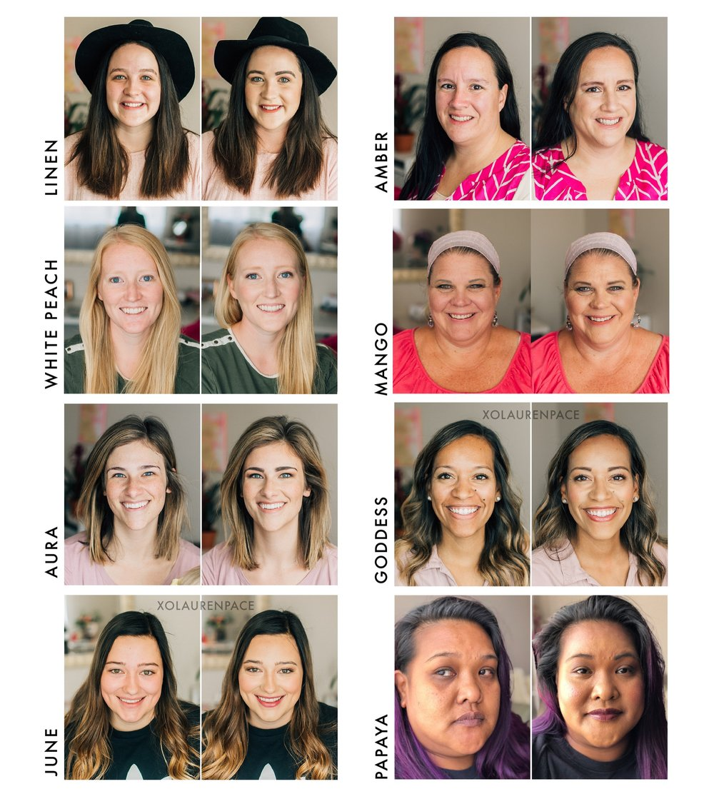 BEFORE/AFTERS:   Look at all these beautiful women. I love having them sit in my chair, identifying their gorgeous features and then teaching them to emphasize those. These women walk away feeling beautiful and if I'm doing my job right learn a little something about make up too.