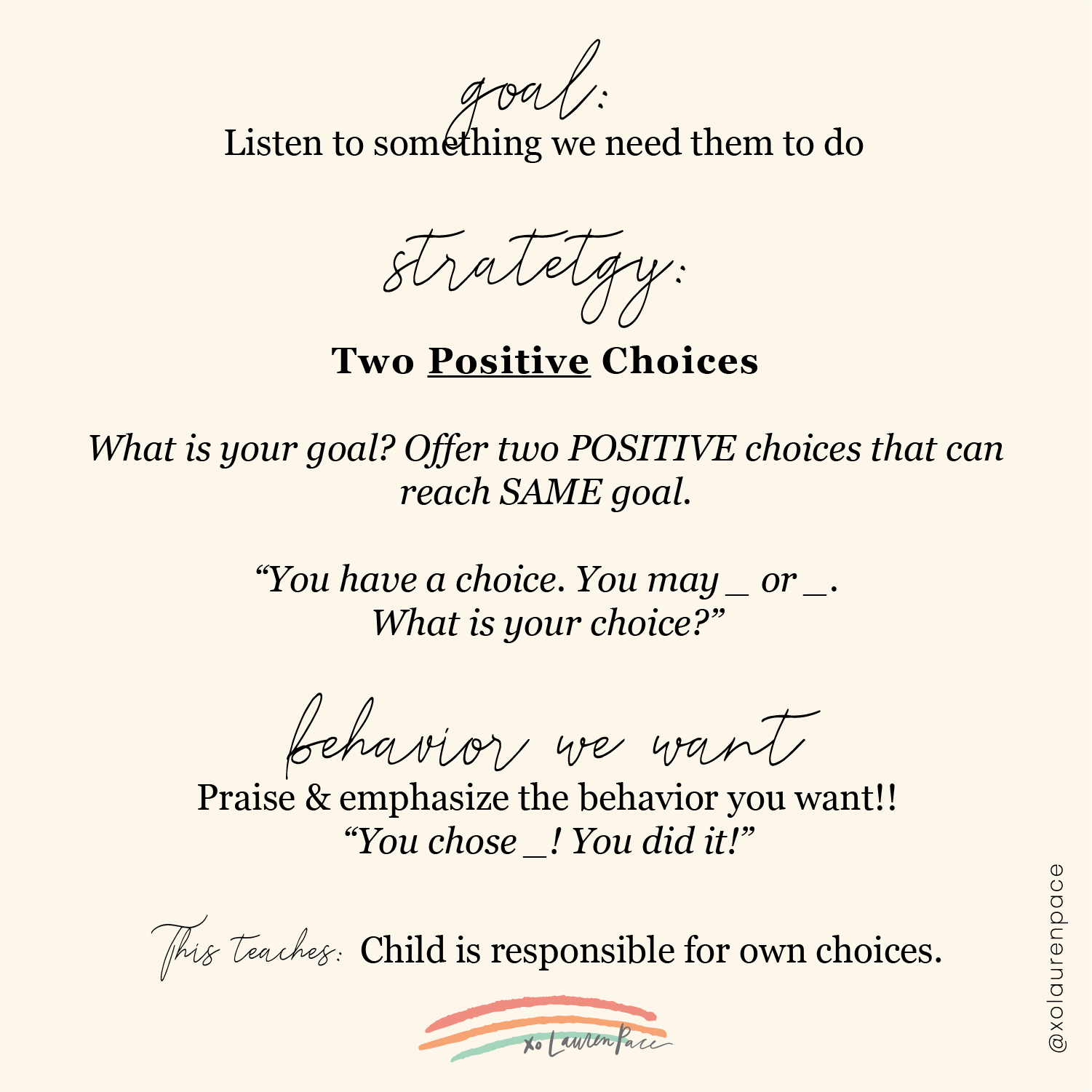 Strategy for helping children listen: Two Positive Choices