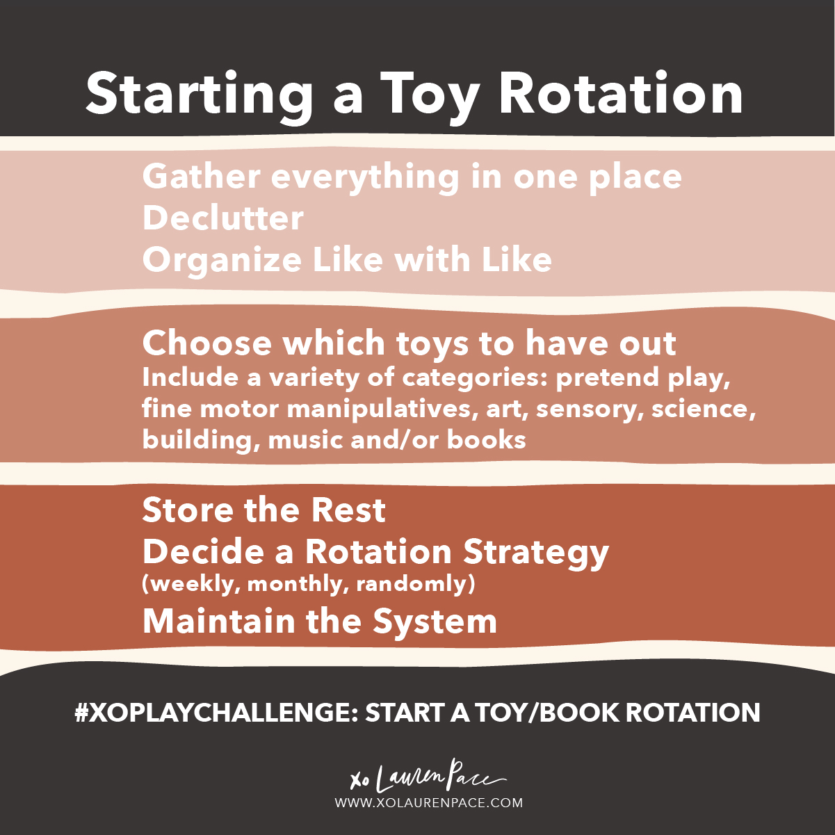 When you use a toy rotation system, instead of giving them free access to all toys, your children will do MORE with less. They will find creative ways to use the old toys in new games. You won't have to clean up toys all day long. Your home will feel more spacious and organized without a lot of toys around. Toy rotation is beneficial to EVERYONE. I've done it from day one of parenthood. And my home is almost always tidy (minus dishes and laundry, but dish rotation doesn't seem to work the same).  You don't have to complete your toy rotation today, and if you already do a toy rotation... throw up some labels, purge, spruce it up, dust it off. Let's make this challenge count!   🚂 Rotating toys works because with less out, they are not overwhelmed... they will play with certain toys longer  🎡 They will get re-excited about toys that they played with a few weeks before each time your rotate  🎈Your space will stay organized and be easier to manage (for you and kids)  🤖more independent play