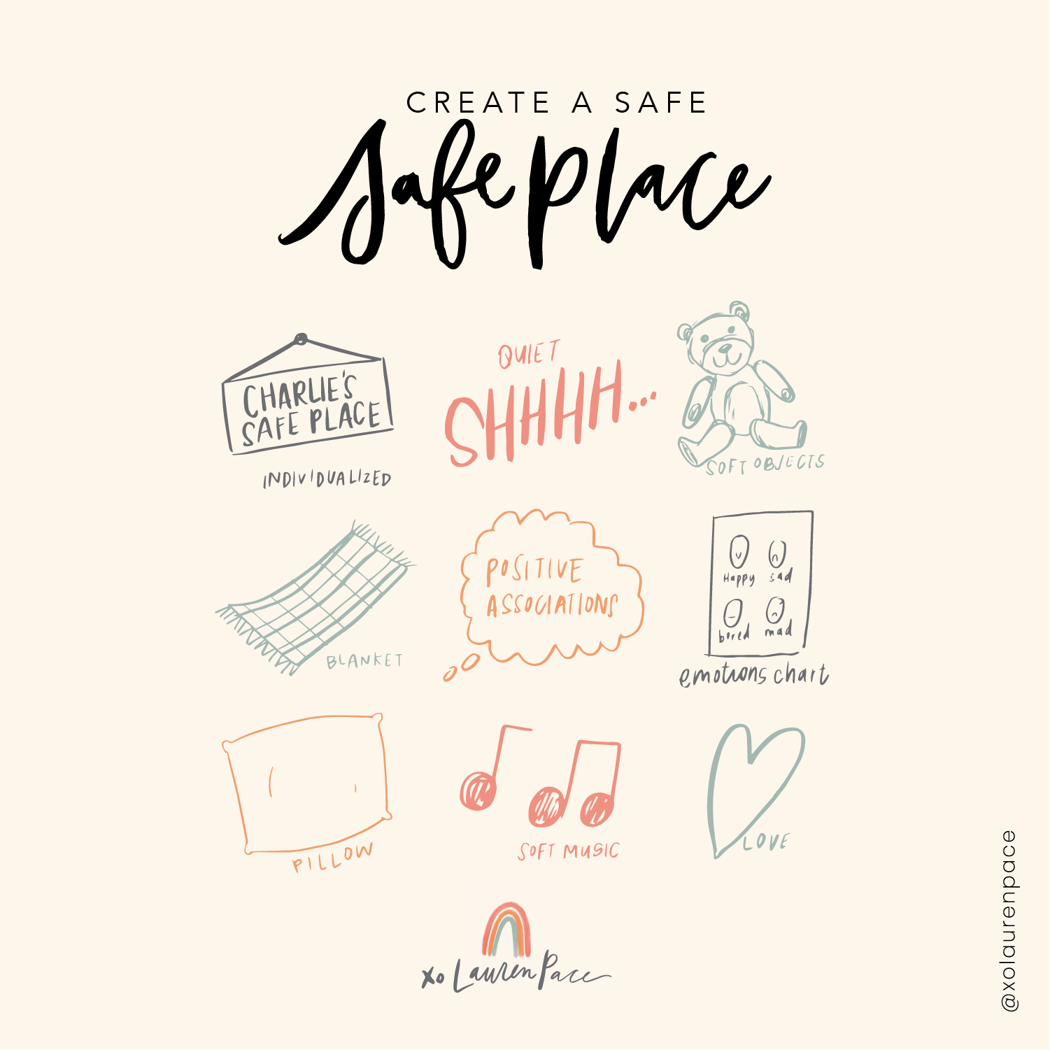 """""""Safe Place"""" Instead of Time-outs⠀⠀⠀⠀⠀⠀⠀⠀⠀  Everyone in my house has a safe place. When Doodle goes to his bed, that is HIS space. When we are upstairs and Doodle goes under the couch... that is his safe place. We all know this is where Doodle goes to feel safe. And we STAY away. He needs this time and space.⠀⠀⠀⠀⠀⠀⠀⠀⠀  Charlie has a safe place too. If he is starting to have a major meltdown or chooses to continue an unsafe choice... he goes to his safe place. It's NOT a time out. It is NOT a punishment. It's a choice. And it's a choice he knows he's making when he has fits. He can be mad, he can cry and carry on. But he does it in his safe space.... and when he does calm down he can resume his activity or make a new choice. Instead of choosing to have a power struggle or over-explain all his choices... we go to the safe place (sometimes I leave him there to regulate on his own, sometimes I stay with him and hold him). He knows in this space he will calm down. ⠀⠀⠀⠀⠀⠀⠀⠀⠀"""