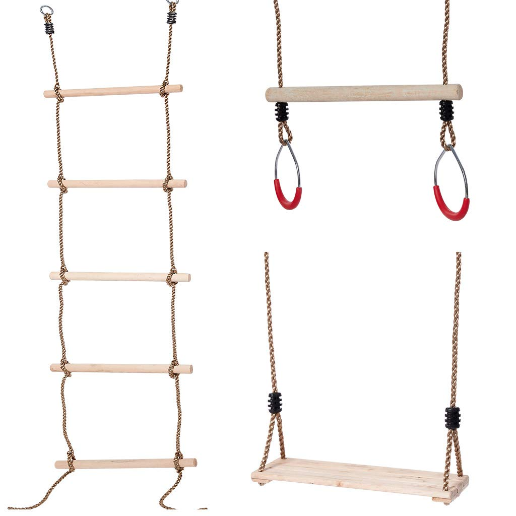 2. Rope Swings, Rings, Ladder Climber  I've linked many different types of swings and bands to hang them with here.  I like these because they can have that fun swinging sensation, but swing THEMSELVES. They can do gross motor and practice balancing up the ladder or the rope swing. Paired with other equipment moved nearby it can become an obstacle course. You can use all 3 of these swinging pieces inside too.