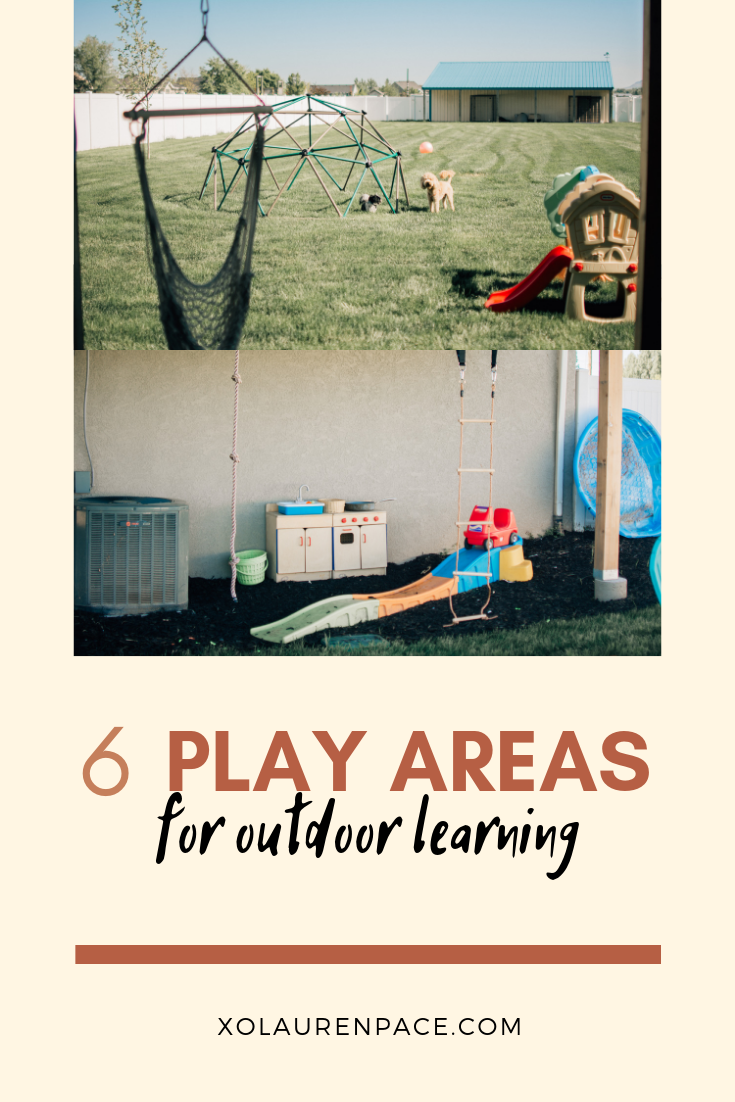 """I'm very intentional on the materials that I include in my outdoor space.   Instead of getting the typical big playground/swing set.   I decided to include all the elements I valued most.  If all you can fit or want is a swing-set that's great too!  One reason I decided against the swing set is because I don't want to spend 10 years doing under-doggies. I'm sorry #notthatmom.   Second, there's """"rules"""" typically that come with the swingsets…(don't climb up the slide, one at a time on the ladder, one at a time on the swing, don't walk in front of the swing, there's not room for you right here, etc.)   I wanted play materials that allowed them to expand their imagination."""