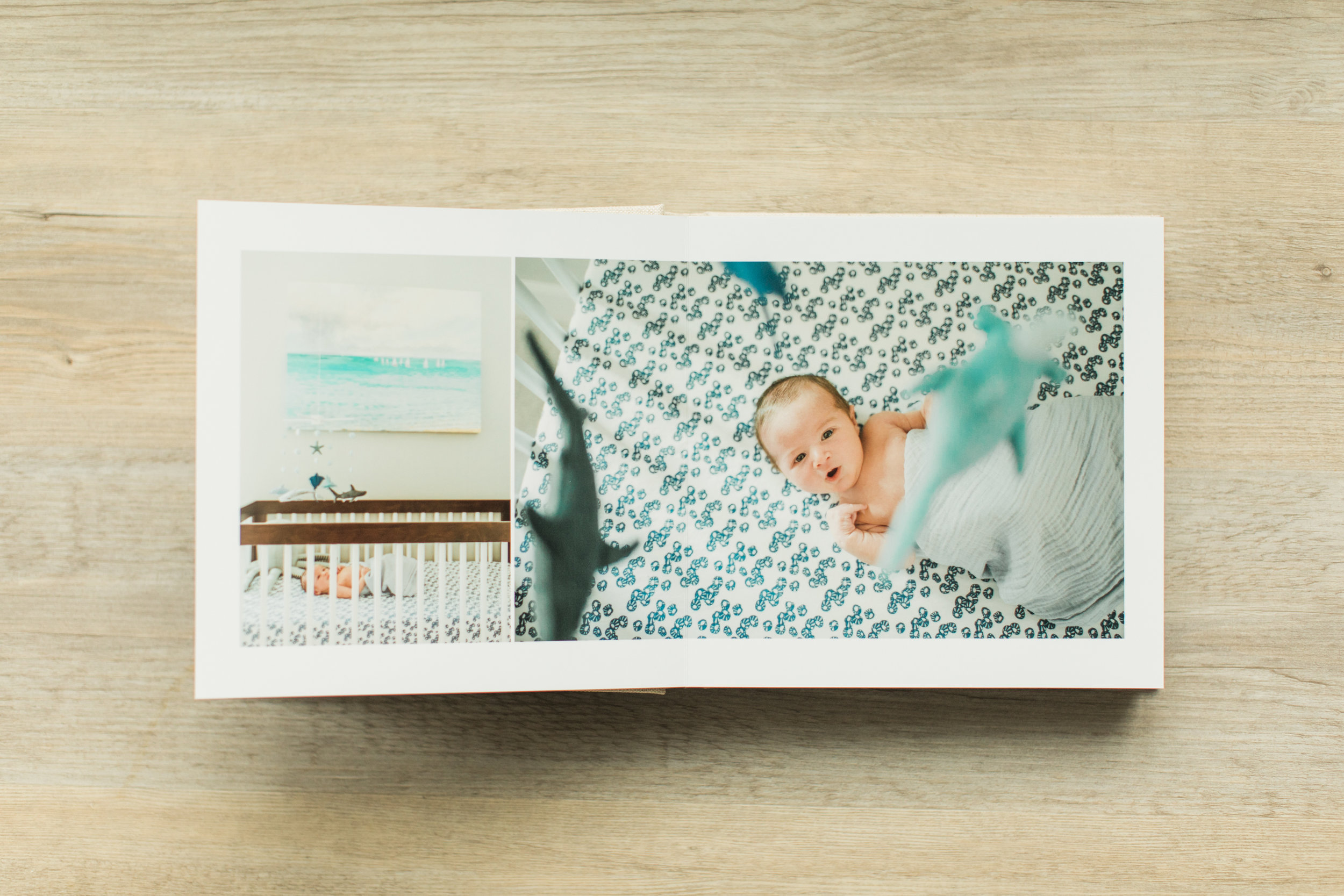 Inside pages of a baby photo album.