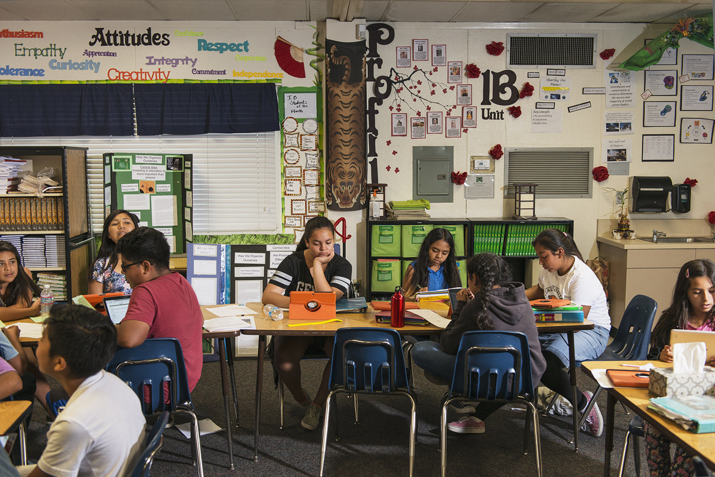 "Schools all over the country have invested into iPad's and tablets for students to use and take home, but about 30% of American school children don't have internet access at home and about 50% of the students at Alvin Dunn Middle school in San Marcos don't have internet. The San Diego based Qualcomm Wireless is attempting to close this ""homework gap"" with their free data plan program for kids to be able to do homework at home with their tablets. Shot for WIRED Magazine."