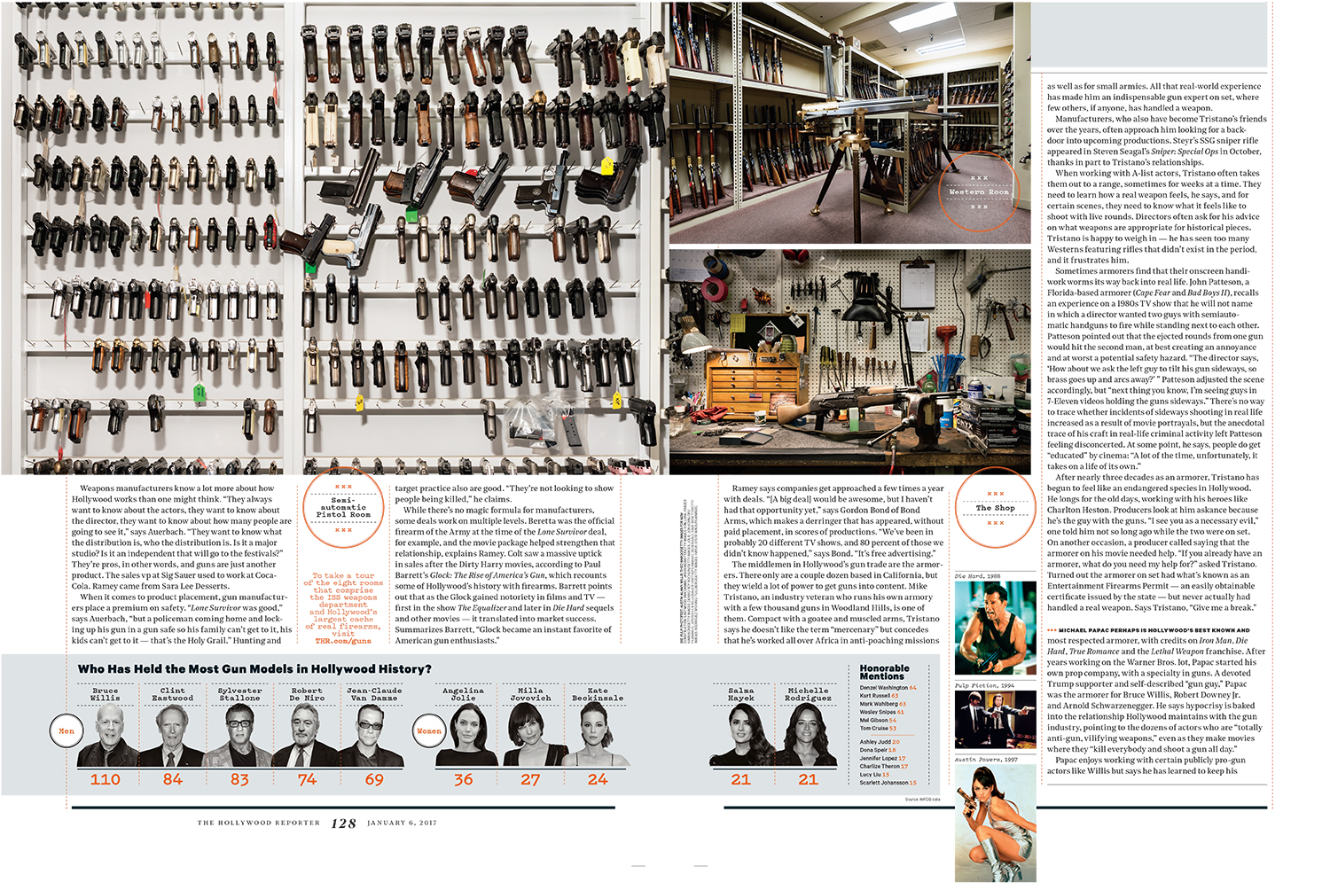 A story for The Hollywood Reporter about the gun industry's lucrative and co-dependant relationship with Hollywood. All photographs were taken at ISS Props (Independent Studio Services) weaponry department. ISS has over 16,000 weapons and is the largest armorer for Hollywood films.