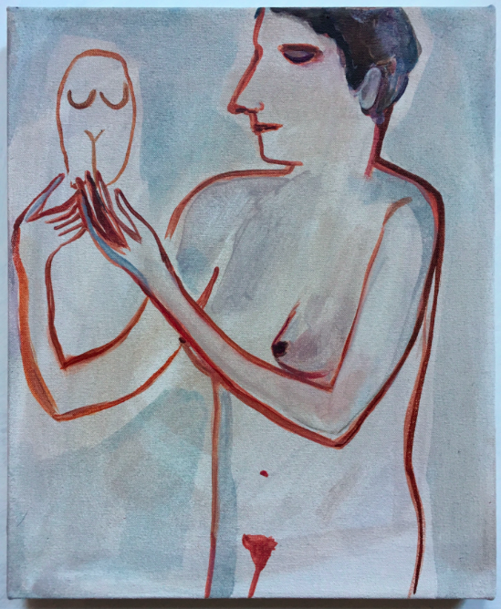 Untitled (woman and goddess sculpture)