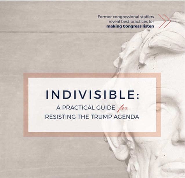 Indivisible    Taking lessons from the tea party playbook, former congressional staffers pieced together a guide for resisting the Trump agenda and how to get your congressional representatives to listen. This is another great place for connecting with like-minded locals. It will take more than calls and petitions to push back the Trump administration.