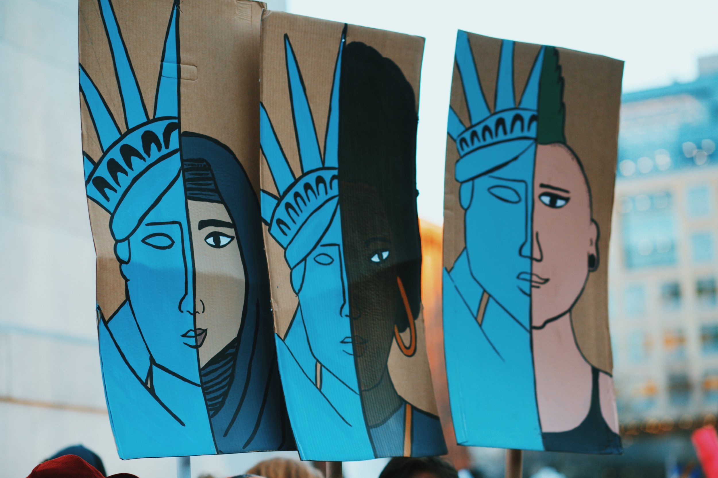 Modern lady liberties leading the movement for all women.