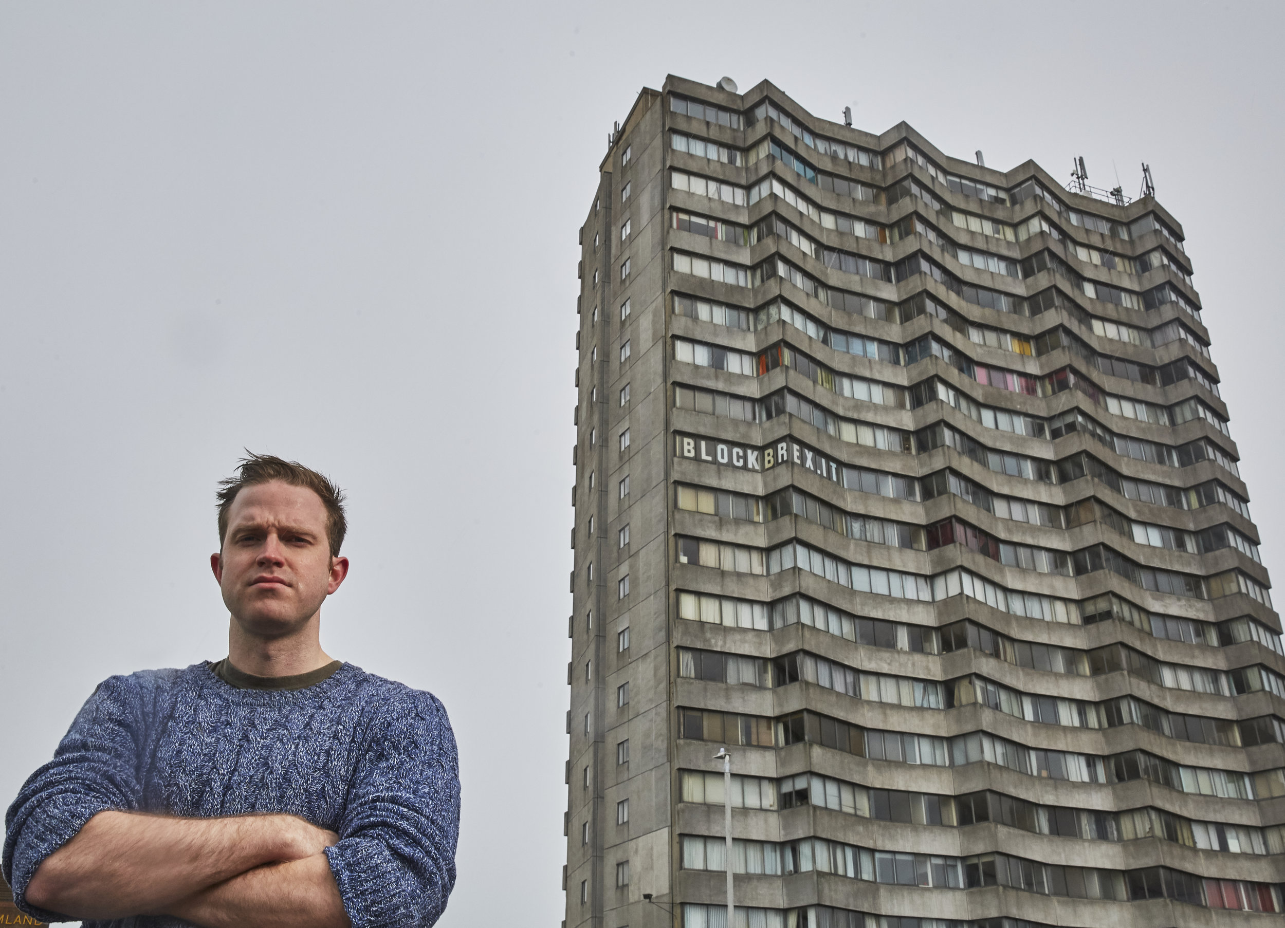 Pictured: Rob Yates next to Arlington Tower, Margate. Photo: Joel Knight, 2018.