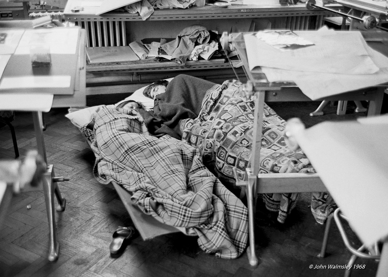 Students typically slept wherever they could during the sit-in