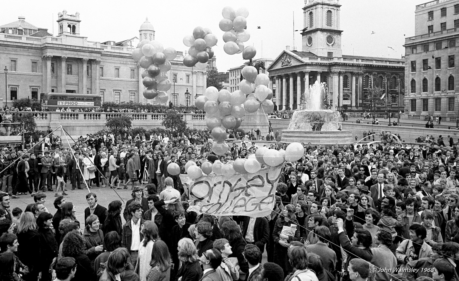 After the sit-in at Guildford School of Art, a demonstration of students from Guildford & Hornsey Art Schools and London nurses took place in Trafalgar Square, October 1968