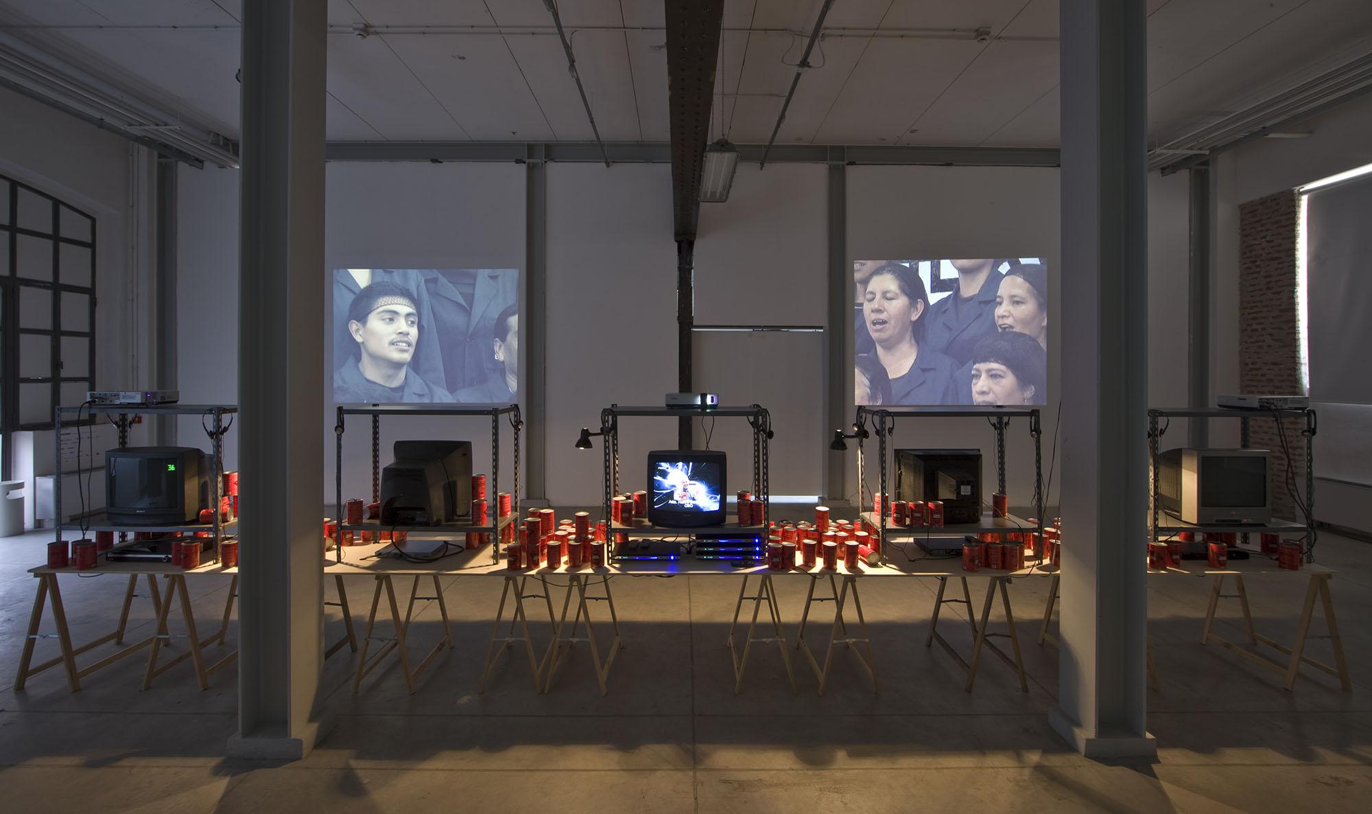 Canned Laughter Installation View Via Farini. Courtesy of Okon Studio.