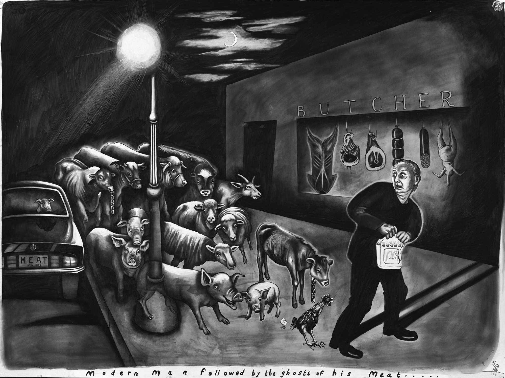 Sue Coe,  Modern Man Followed by the Ghosts of His Meat , 1990.