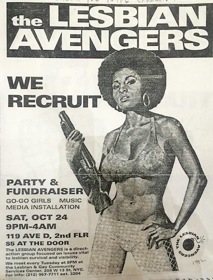 """Lesbian Avengers, """"We Recruit"""" flier, 1992 Courtesy Lesbian Herstory Archives.jpg"""