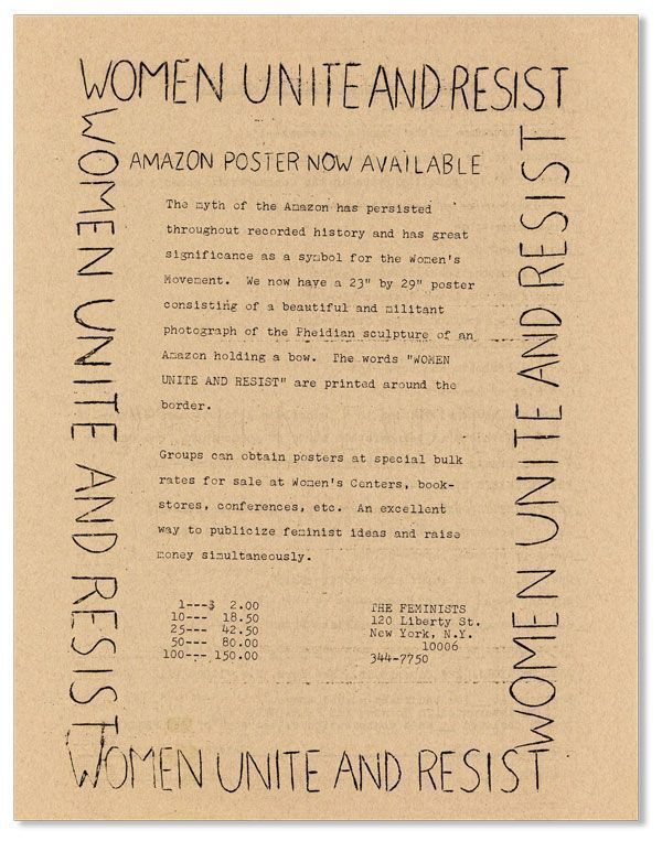 The Feminists Announcement for Sle of Amazon Posters, circa 1972.