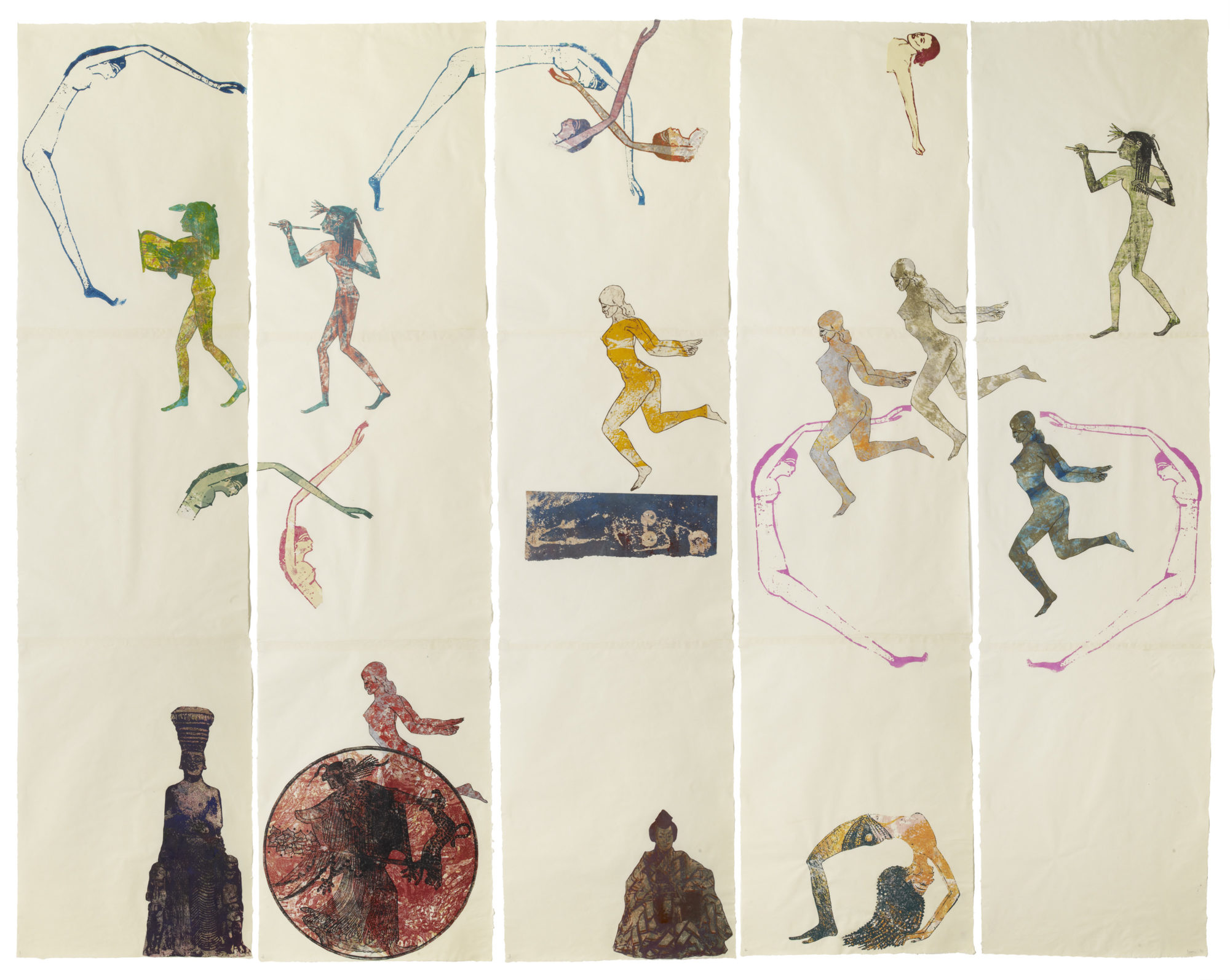 Nancy Spero. The Goddess Nut II. 1990 . Handprinting and printed collage on paper. Five panels: 213.4 x 279.4 cm (7 feet x 9 feet, 2 inches) overall. © 2019 The Nancy Spero and Leon Golub Foundation for the Arts/Licensed by VAGA at ARS, NY, courtesy Galerie Lelong & Co. Photo: Michael Bodycomb