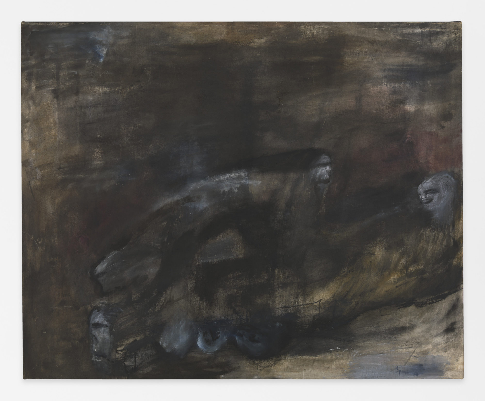 Nancy Spero. Nightmare Figures II. 1961 . Oil on canvas . 129.5 x 160 cm (51 x 63 inches). © 2019 The Nancy Spero and Leon Golub Foundation for the Arts/Licensed by VAGA at ARS, NY, courtesy Galerie Lelong & Co. Photo: Christopher Burke Studio.