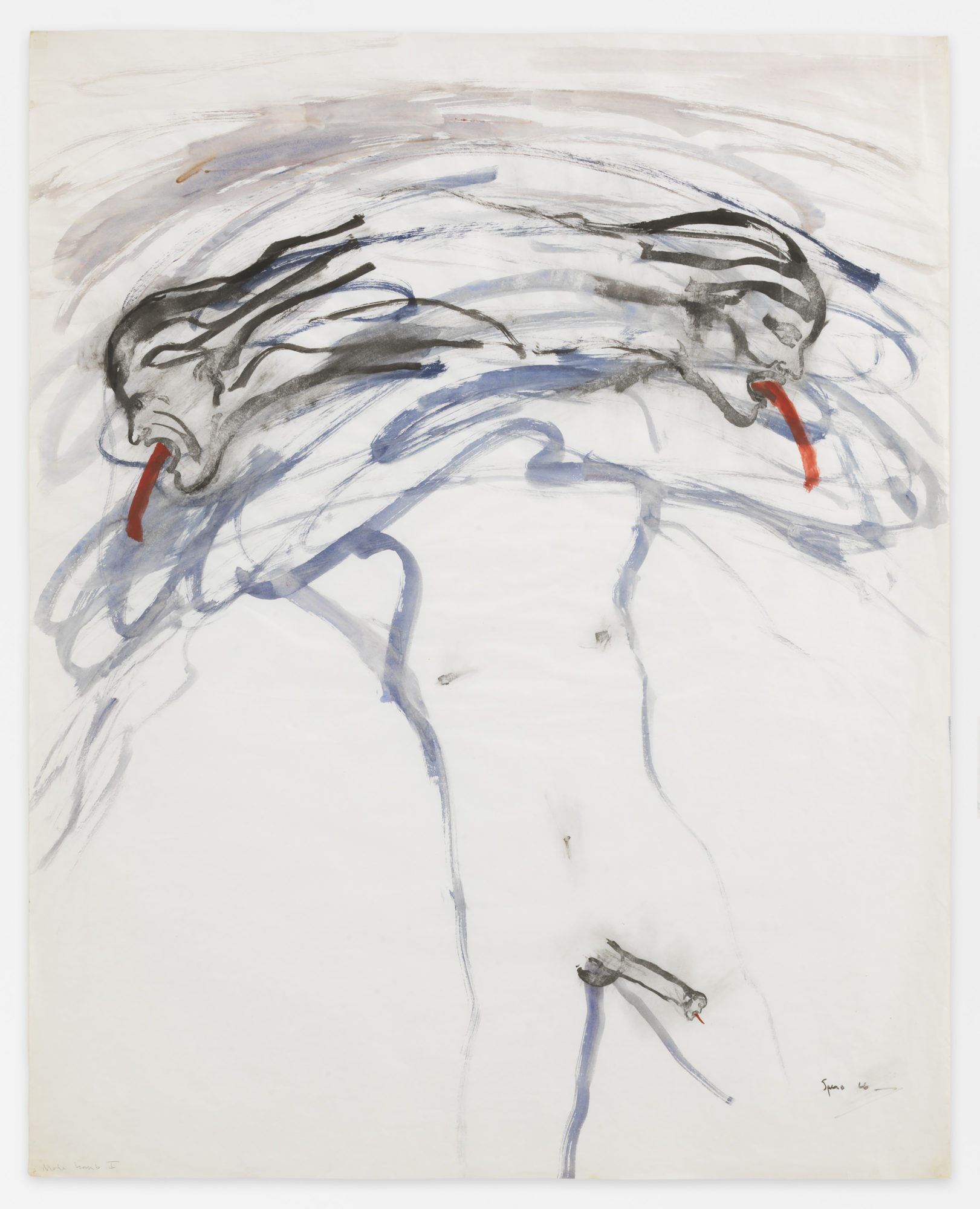 Nancy Spero. Male Bomb I. 1966 . Gouache and ink on paper . 86.4 x 68.6 cm (34 x 27 inches). © 2019 The Nancy Spero and Leon Golub Foundation for the Arts/Licensed by VAGA at ARS, NY, courtesy Galerie Lelong & Co. Photo: Christopher Burke Studio