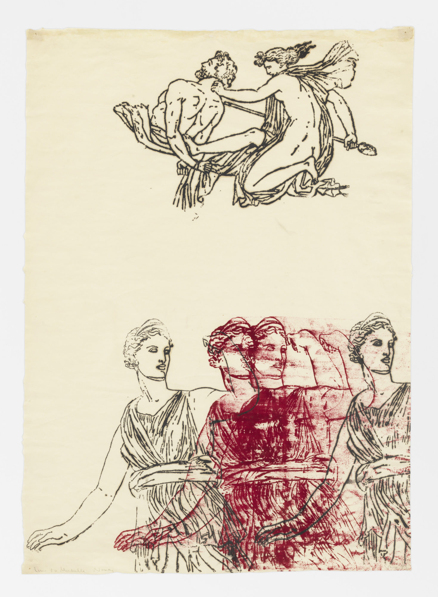 Nancy Spero. Artemis, Goddess and Centaur. 1983. Handprinting on paper . 71.1 x 50.8 cm (28 x 20 inches). © 2019 The Nancy Spero and Leon Golub Foundation for the Arts/Licensed by VAGA at ARS, NY, courtesy Galerie Lelong & Co. Photo: Christopher Burke Studio