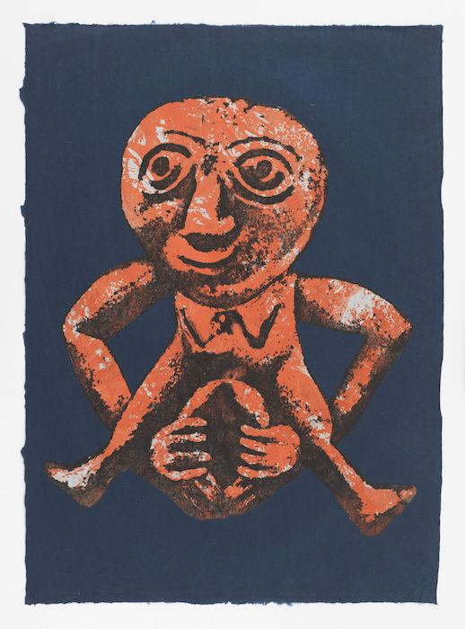 Nancy Spero. Sheela-Na-Gig. 1991. Handprinted collage on paper. 64.8 x 47 cm (25.5 x 18.5 inches). © 2019 The Nancy Spero and Leon Golub Foundation for the Arts/Licensed by VAGA at ARS, NY, courtesy Galerie Lelong & Co. Photo: Christopher Burke Studio