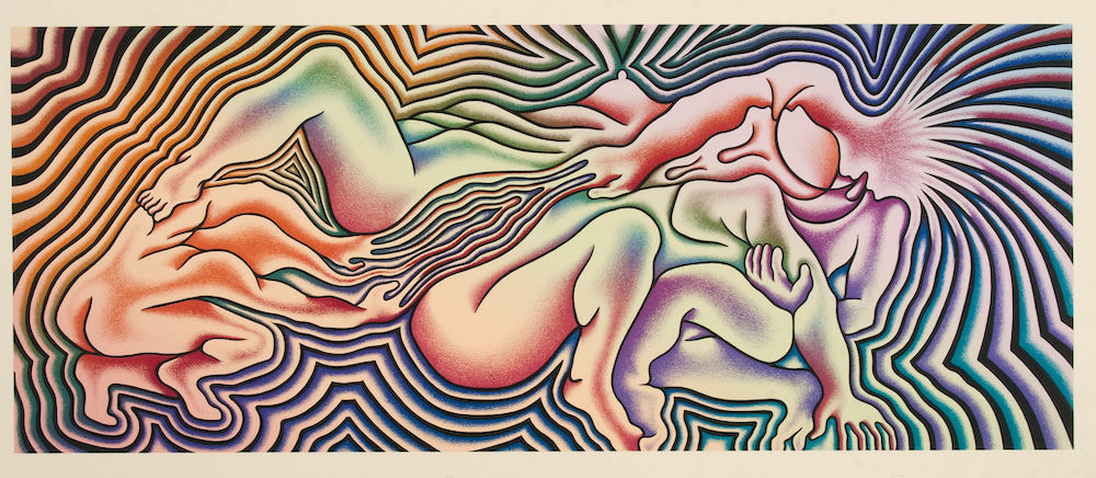 Judy Chicago, Birth Trinity, 1985, Serigraph on Stonehenge natural White, 30 x 40 inches, ed. 75 © Judy Chicago