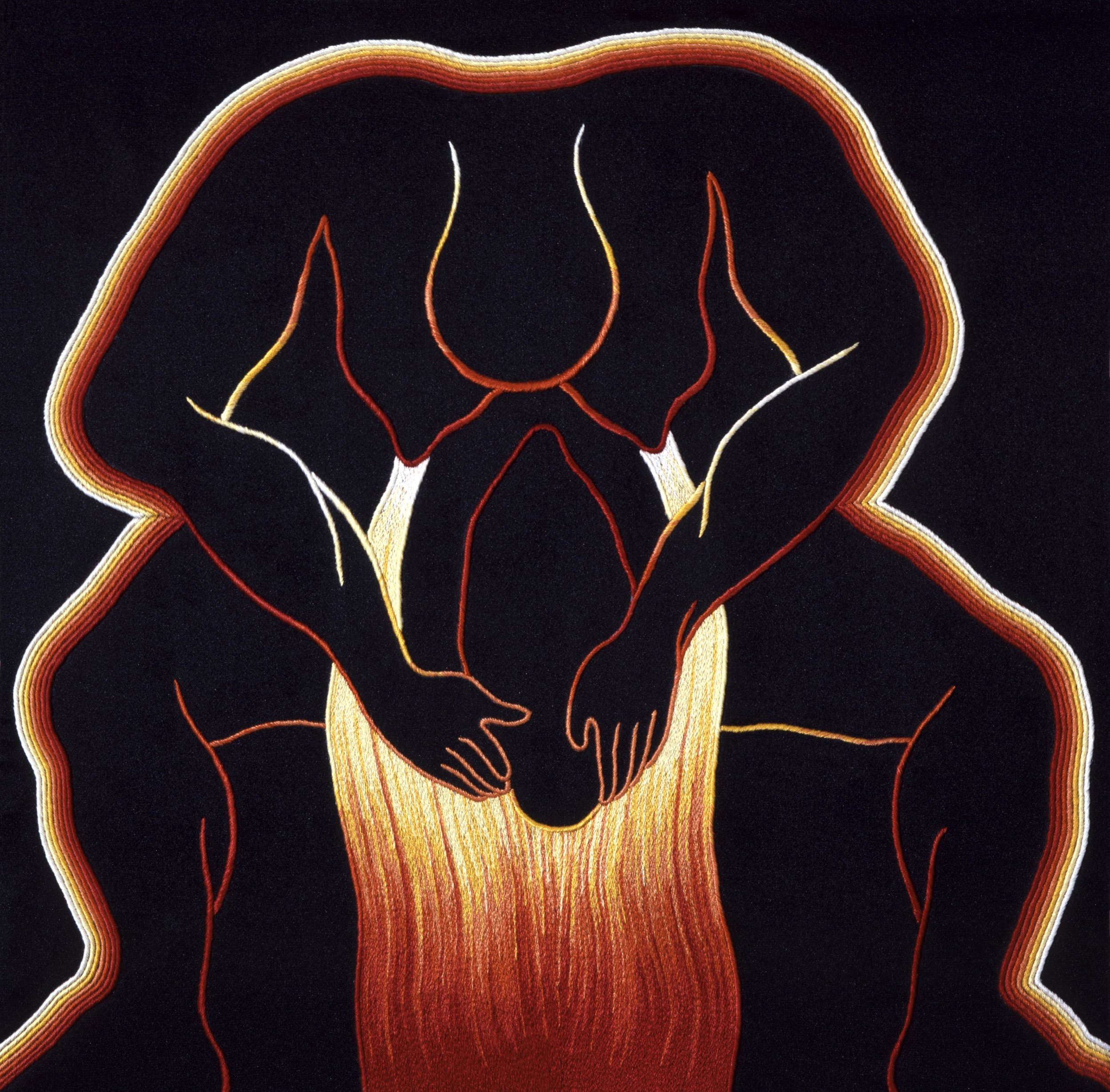 Judy Chicago, Birth Power, 1984, Embroidery over drawing on silk, 20 x 20 inches. Needlework by Sandie Abel © Judy Chicago