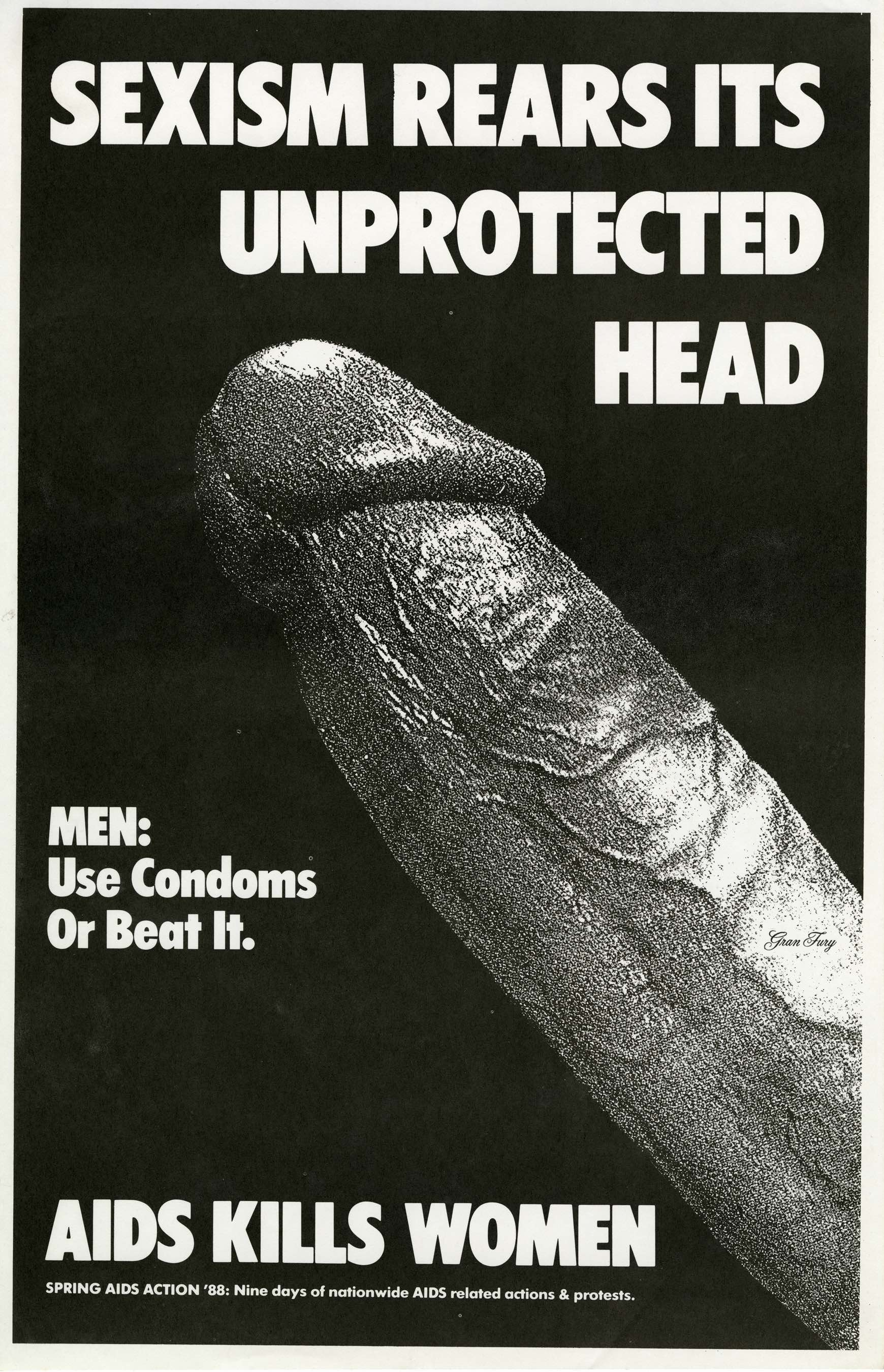 "Men Use Condoms or Beat It, 1988, Gran Fury. Flier, crack-n-peel sticker 7 x 8"". Image courtesy of the artist."