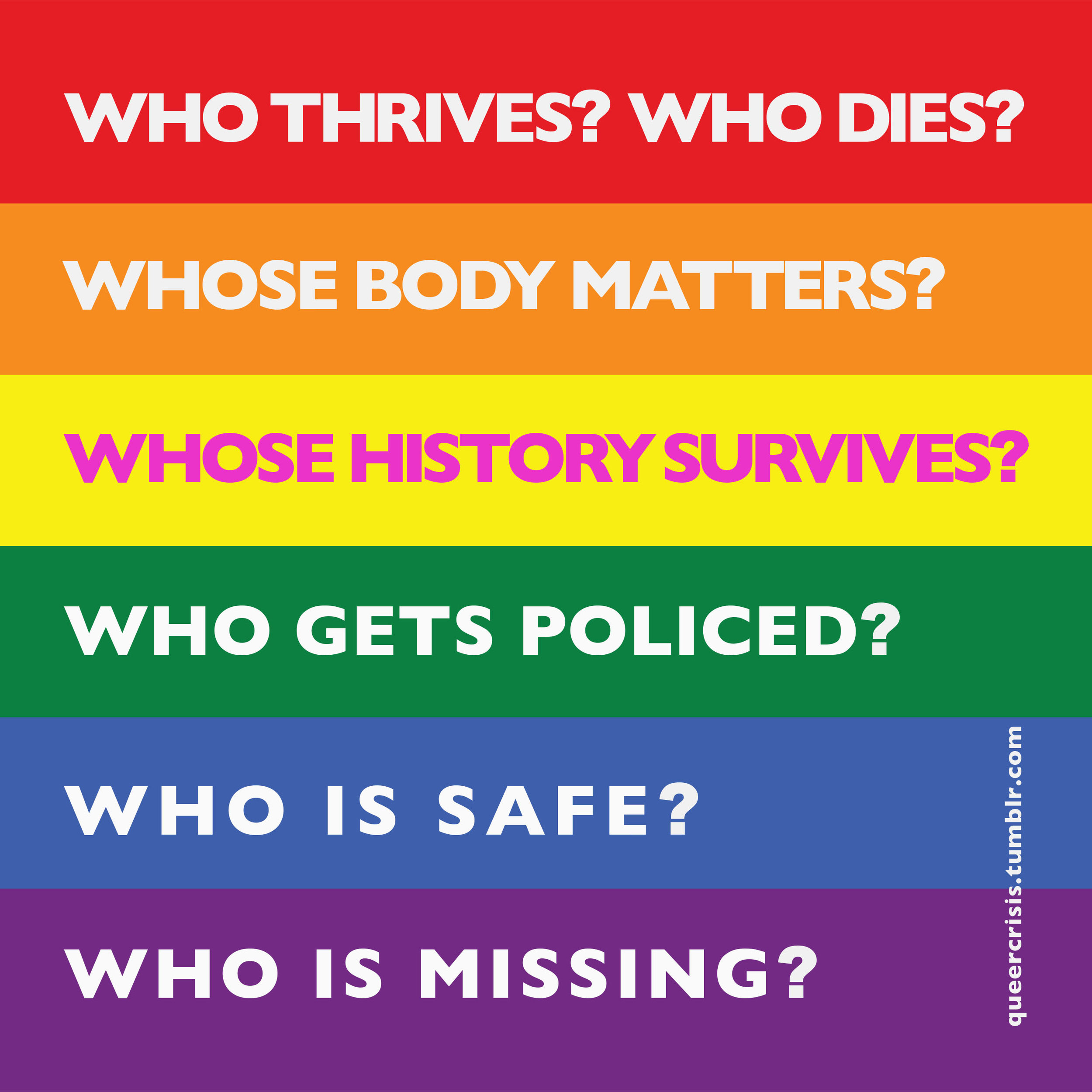 Reclaiming the colors of the Rainbow:  Queercrisis.tumblr.com , Image courtesy of the artist