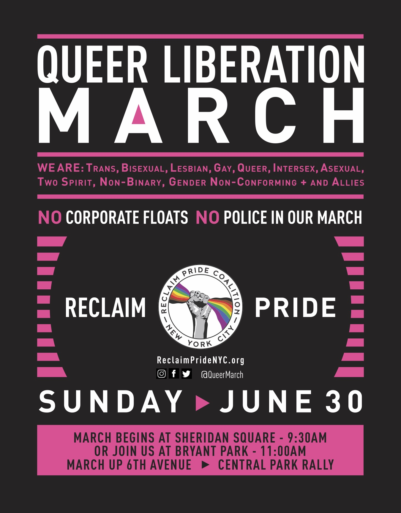The Queer Liberation March will be marching in the opposite direction of World Pride. Poster courtesy of Reclaim Pride.