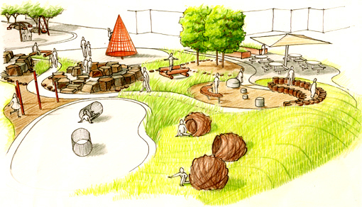 A playground design by Calgary landscape architect Tanya Goertzen