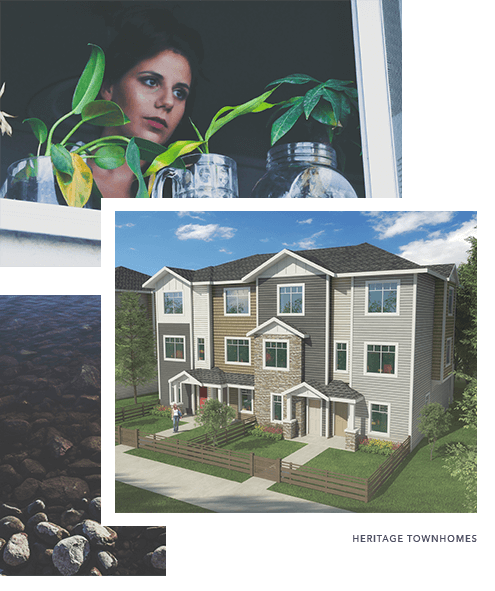 A woman looking out a window and an exterior design preview image for Canals Townhomes, new homes in Airdrie by Slokker West