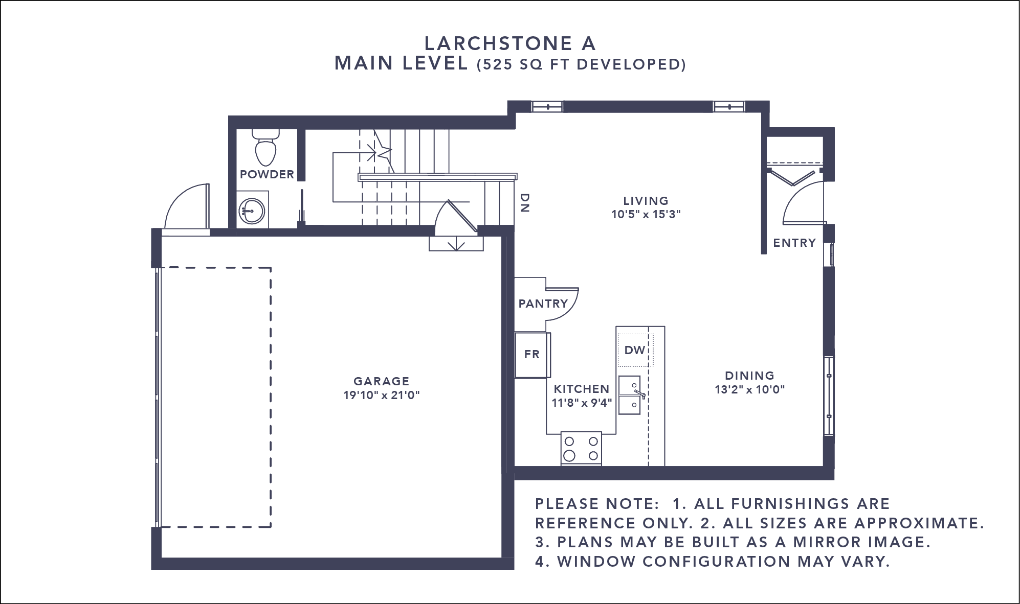 Larchstone A Floorplan - Main Level
