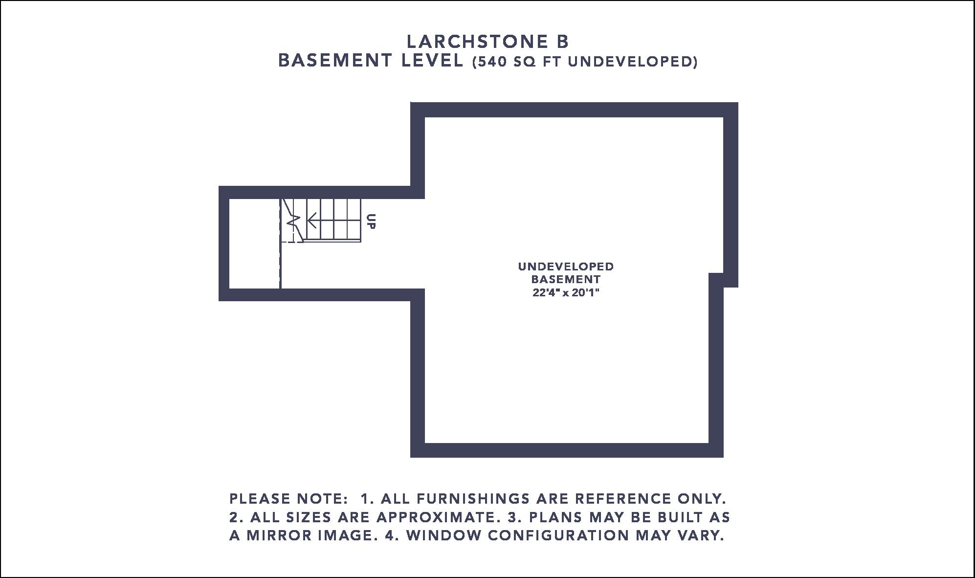 Larchstone B Floorplan - Basement Level