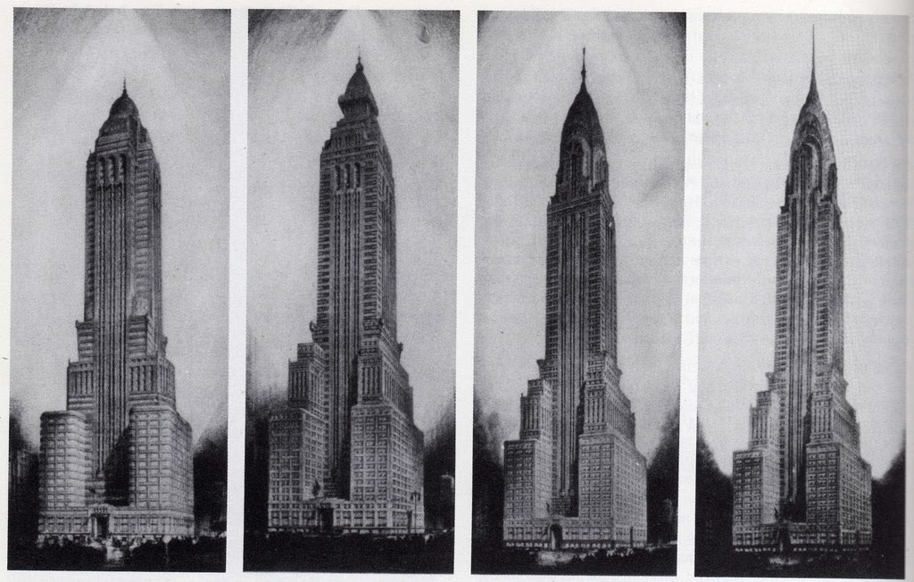 Versions of one of New York City's most iconic skyscapers - The Chrysler Building. The form of the building is a direct responce to the city's 1916 Zoning Code and the requirement buildings be set back from the street for public benefit.