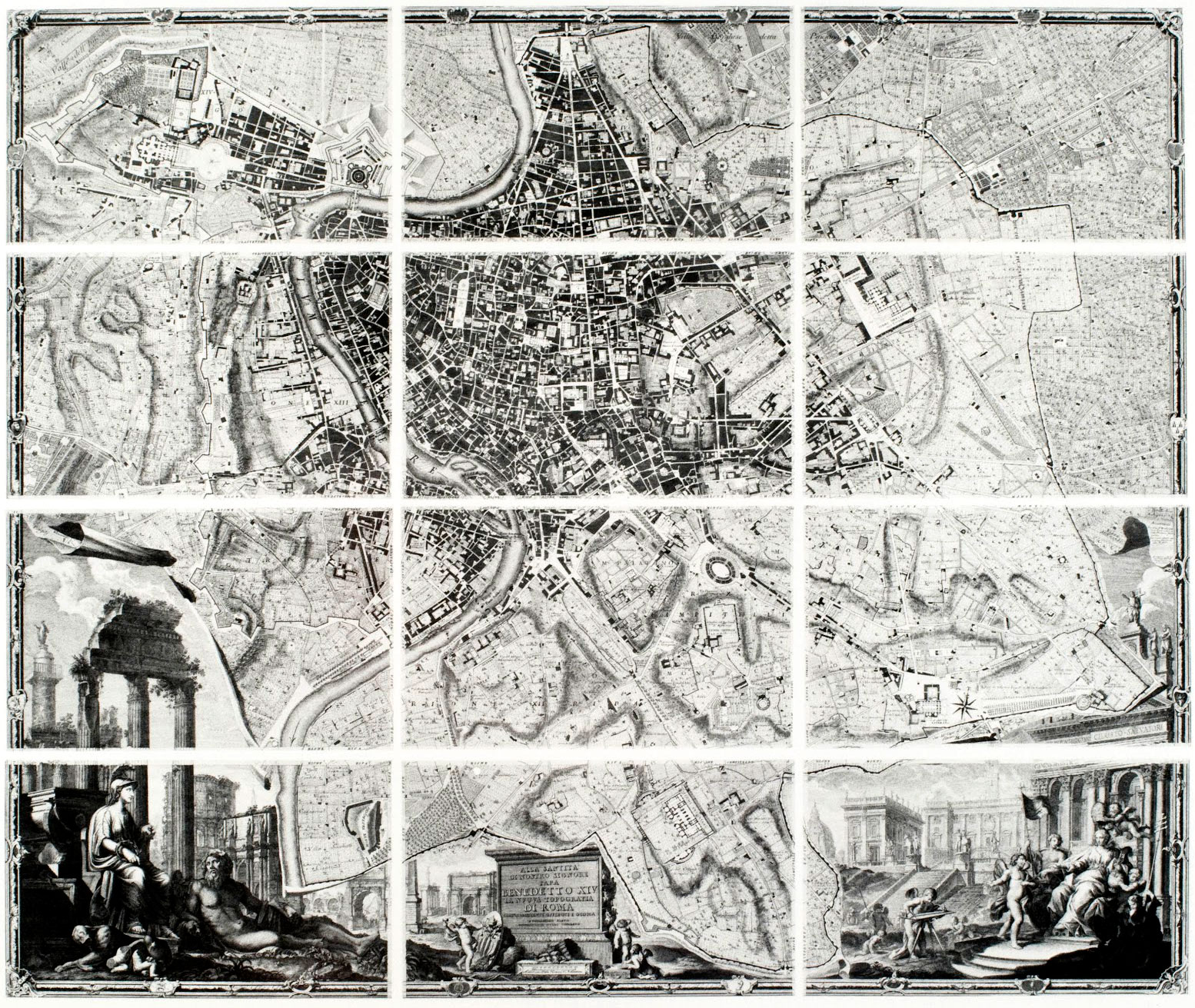 Giovanni Battista Nolli's 1748 Map of Rome. The entire document is about 6ft x 7ft in dimension and comprised of 12 smaller portions. The Nolli Map has become one of the most appropriate ways to understand existing spatial relationships and plan future development.
